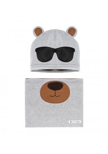 Šedý, bavlnený komplet s motívom medveďa