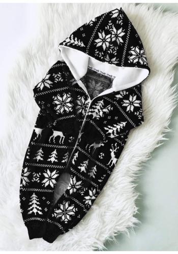 Detská zimná kombinéza s kapucňou v čiernej farbe