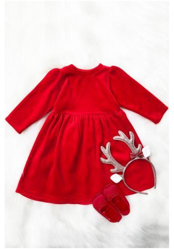 Dievčenské červené šaty s dlhým rukávom