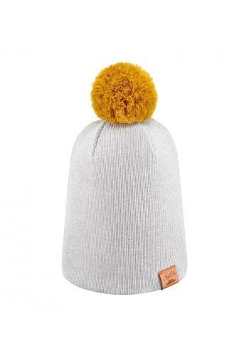 Bavlnená čiapka v svetlo šedej farbe s troma vymeniteľnými brmbolcami