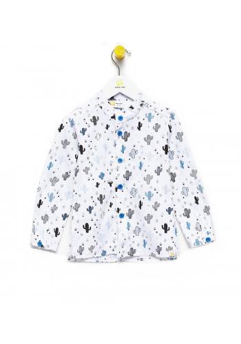 Bavlnená košeľa s motívom modrý kaktus