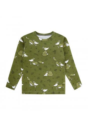 Zelené, bavlnené tričko s dlhým rukávom s potlačou veveričiek