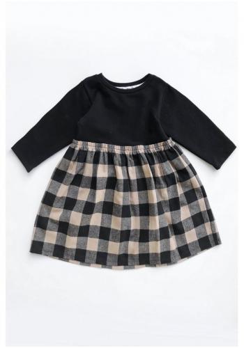 Detské dievčenské šaty s kombinovaných materiálov s kockovanou sukňou