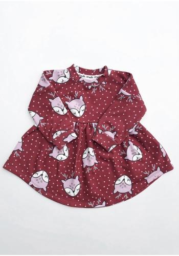 Šaty pre dievčatá s dlhým rukávom a potlačov jeleňov