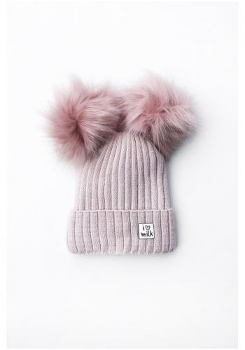 Zimná čiapka pre dievčatá s brmbolcami v ružovej farbe