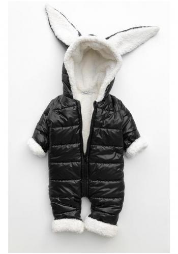 Detská zimná kombinéza s ušami - čierny králik