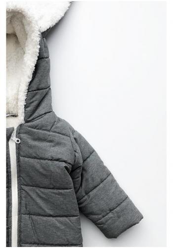 Detská zimná kombinéza s ušami - sivý králik