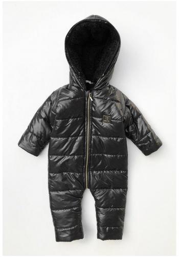 Zimná kombinéza pre deti s kožušinovým lemom na kapucni v čiernej farbe