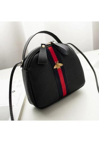 Dámska mini kabelka s kontrastným pásom v čiernej farbe