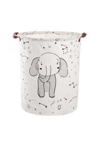 Biely kôš na hračky s motívom slona