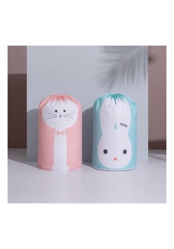 Kôš na hračky ružovej farby s motívom mačky