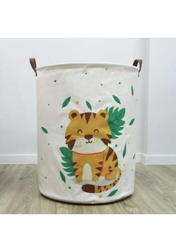 Kôš na hračky bielej farby s motívom tigra