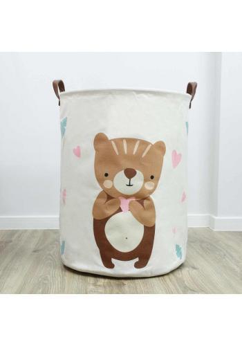 Biely kôš na hračky s motívom medveďa