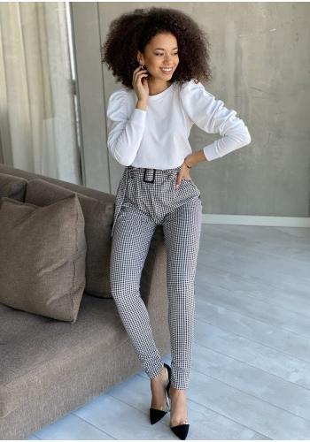 Elegantné dámske nohavice s vysokým pasom - kockované