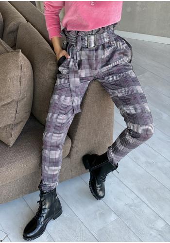 Štýlove kárované nohavice pre dámy s vysokým pásom