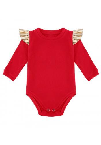 Červené bavlnené body so zlatými volánikmi na ramenách
