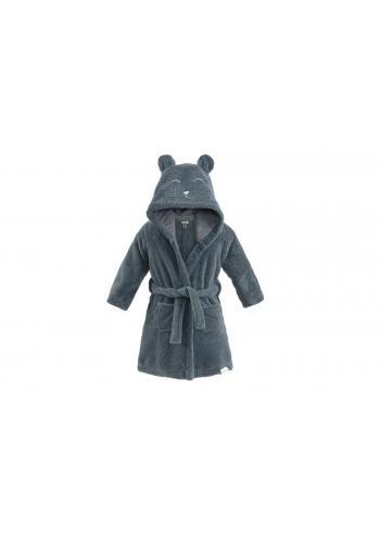 Detský župan v tmavosivej farbe s kapucňou a vreckami