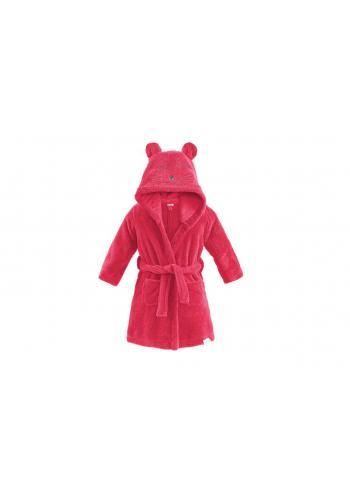 Detský župan v malinovej farbe s kapucňou a vreckami