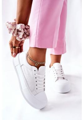 Módne dámske tenisky na platforme bielej farby