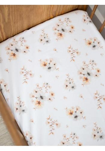 Bavlnené prestieradlo na posteľ s gumkou - Boho Flowers