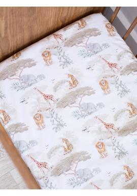Detské bavlnené prestieradlo na posteľ s gumkou s motívom Safari