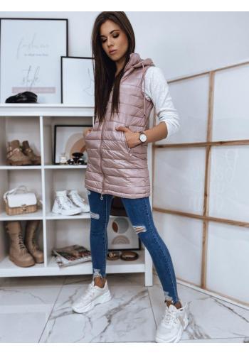 Ružová dlhšia prešívaná vesta s kapucňou pre dámy