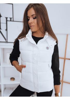 Biela prešívaná vesta s odopínacou kapucňou pre dámy