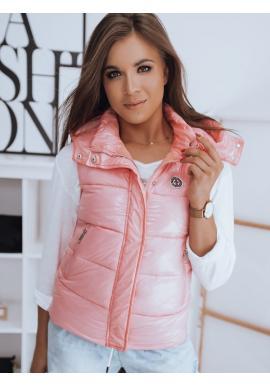 Prešívaná dámska vesta ružovej farby s odopínacou kapucňou