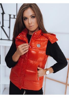 Červená prešívaná vesta s odopínacou kapucňou pre dámy
