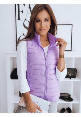 Dámska prešívaná vesta bez kapucne vo fialovej farbe