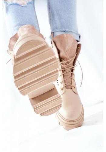 Béžové ažúrové čižmy na platforme pre dámy