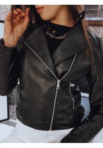 Dámska koženková bunda s prešívaním v čiernej farbe