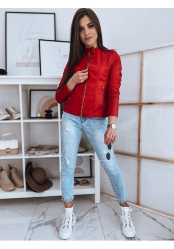 Dámska koženková bunda so stojacím golierom v červenej farbe