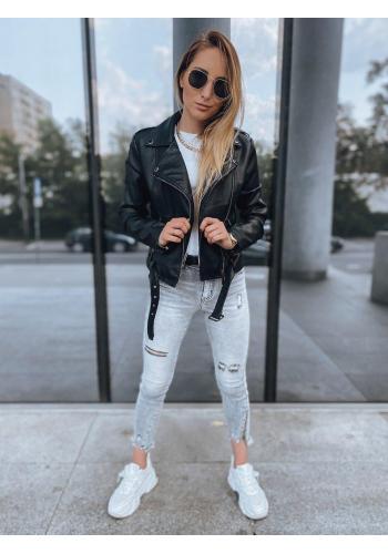 Koženková dámska bunda čiernej farby s opaskom