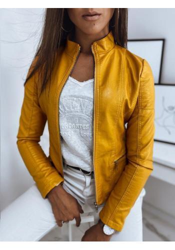 Dámska kožená bunda s prešívaním v žltej farbe