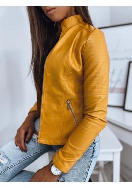 Kožená dámska bunda žltej farby s prešívaním