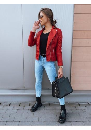Koženková dámska bunda červenej farby s prešívaním