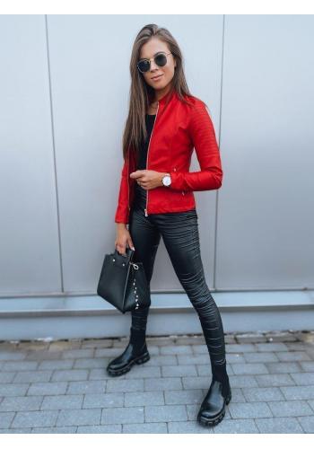 Červená koženková bunda s prešívaním pre dámy