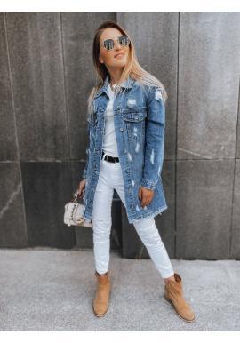 Modrá dlhá riflová bunda s dierami pre dámy