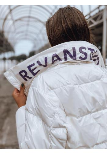 Oversize dámska bunda bielej farby na jeseň