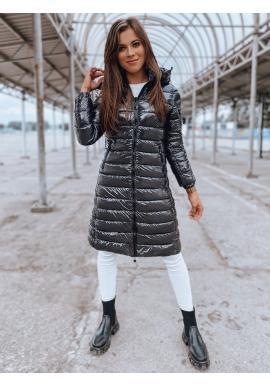 Dlhá prešívaná bunda tmavosivej farby s kapucňou