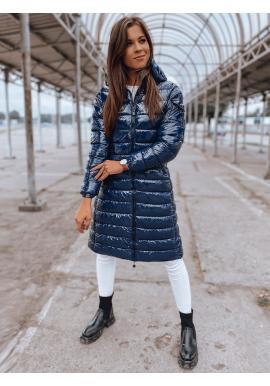 Dámska dlhá prešívaná bunda s kapucňou v tmavomodrej farbe