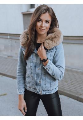 Dámska obojstranná bunda s kapucňou v svetlomodrej farbe