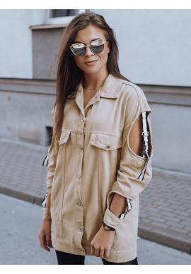 Štýlová dámska bunda béžovej farby s výrezmi na rukávoch