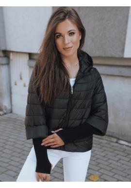 Čierna asymetrická bunda s originálnymi rukávmi pre dámy