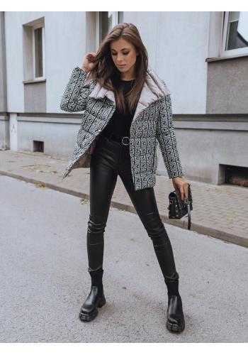 Obojstranná dámska prešívaná bunda khaki farby s potlačou