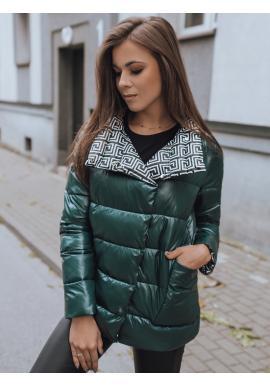 Zelená obojstranná prešívaná bunda s potlačou pre dámy