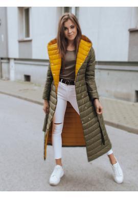 Dlhá dámska prešívaná bunda olivovej farby s opaskom