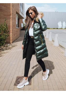 Prešívaná dámska bunda zelenej farby na zimu