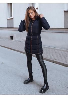 Tmavomodrá zimná bunda s opaskom pre dámy